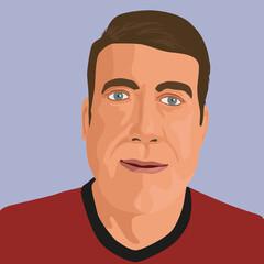 Dans un style graphique de bande dessinée, le gros plan du visage d'un homme de type caucasien vu de face.