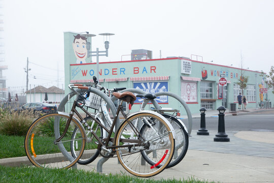 ASBURY PARK, NEW JERSEY - October 10, 2018: A view of the famous Wonder Bar on a very foggy fall day