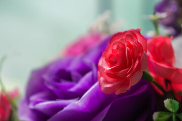 Photos of red artificial flowers