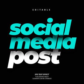 Social Media Post Blue Editable Text Premium Vector