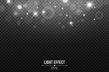 Wall Mural - Abstract falling lights bokeh isolated on a dark transparent background. Shining white stars and glare. White glitter. Vector illustration