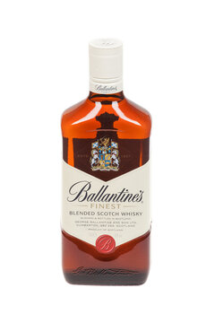 Varna, Bulgaria - September 21, 2016: Ballantines whisky isolated on white background. Ballantines is blended scotch whisky produced produced by Pernod Ricard in Dumbarton, Scotland.