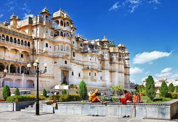 Landmarks of India - Udaipur town and splendid City palace. Rajasthan.