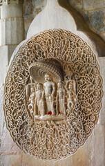 RANAKPUR, INDIA . Amazing carved sculptures in Adinath jain temple in Rajasthan