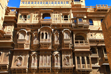 Golden city of India - wonderful Jaisalmer with carved traditional buildings, Rajasthan