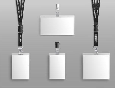 Mockup set of blank badge holders with clips and black lanyard realistic style