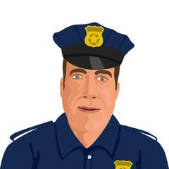 Dans un style graphique de bande dessinée, un gros plan de policier américain en uniforme, vu de face.