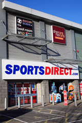 Carmarthen, Wales, UK, January 2, 2017 : Sports Direct clothing store in the city centre during it's sale season stock photo