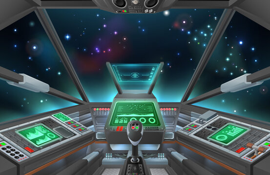 A spaceship cockpit with space ship controls. A possibly alien spacecraft cabin interior with outerspace outside.