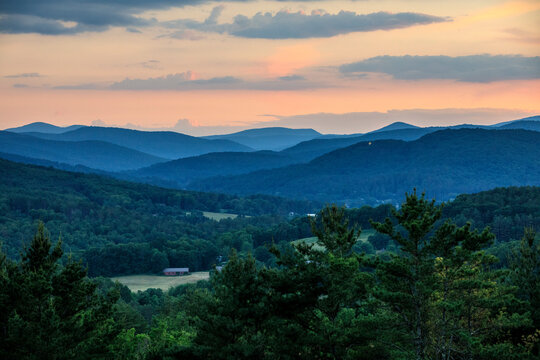 Sunset over the Green Mountains and star above Woodstock, Vermont.