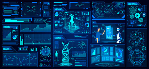 Futuristic UX UI user interface game design vector illustration set. Cartoon flat app gaming tech element collection, website creative platform for finance business medicine science future innovations