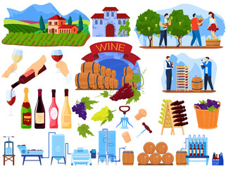 Grape wine product process in factory vector illustration set. Cartoon flat winemaking production collection with people harvesting in farm vineyard, winemaker machine in winery isolated on white