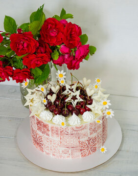 Burgundy stencil cake with roses for 30th anniversary