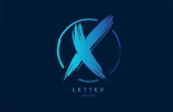 blue hand grunge brush letter X icon logo with circle. Alphabet design for a company design