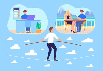 Work life balance concept flat vector illustration. Cartoon businessman balancing on rope between life choices, dating with girl, working late in office, worklife balance problem isolated on white