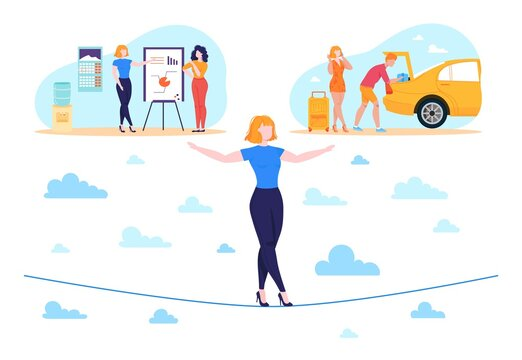 Work life businesswoman balance concept flat vector illustration. Cartoon woman character balancing on rope, choosing between office work or vacation travel, worklife balance problem isolated on white