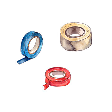 Watercolor illustration.home repair tools on the inside, a set of insulation tape in different colors. Isolated on a white background.