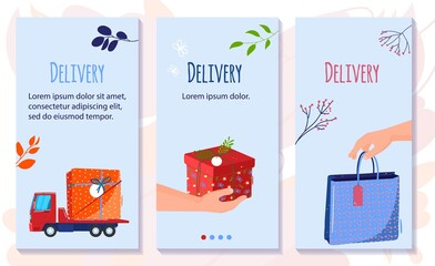Cosmetics beauty delivery vector illustration. Cartoon flat courier van truck delivering cosmetic parcel, human hand holding skincare cosmetics, beautiful gift box or package concept vertical banners
