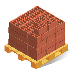 Pallet with building bricks realistic isometric illustration. Construction material.