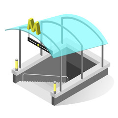Subway entrance isometric illustration. Underground train station exterior with glass roof, stairs.