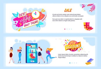 Sale offer concept vector illustrations. Cartoon flat banners template for special discount offers advertisement, happy girls characters shopping, running to store shop boutique on offering big sale