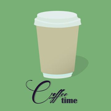 vector illustration coffee time lettering sign logo design for cafe or coffeeshop