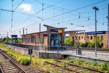 Railway station (Bahnhof) in Hennigsdorf, Brandenburg an der Havel, Germany