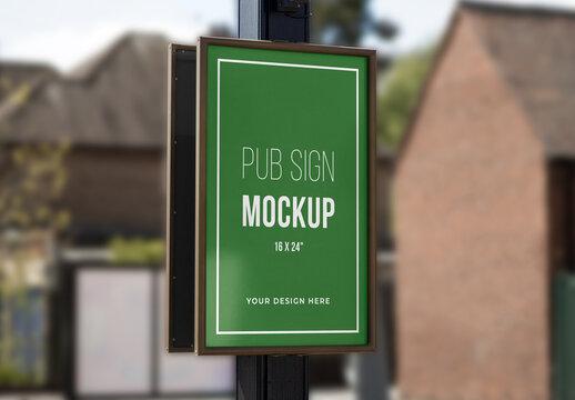 Pub or Restaurant Sign Mockup