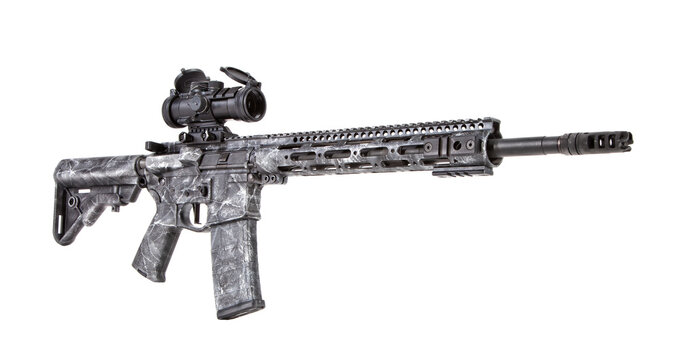 White and black camouflage effect on an AR-15 Rifle with an optic shot on a white background.