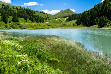 Small alpine lake near Col de Vars on the French Alps