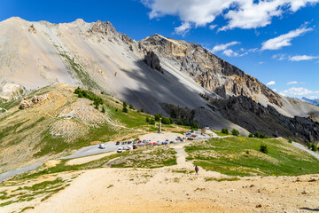 The summit of the the Col d'Izoard (2360 m), a mountain pass connecting Briancon on the north and the valley of the Guil in Queyras, Huates Alpes, France