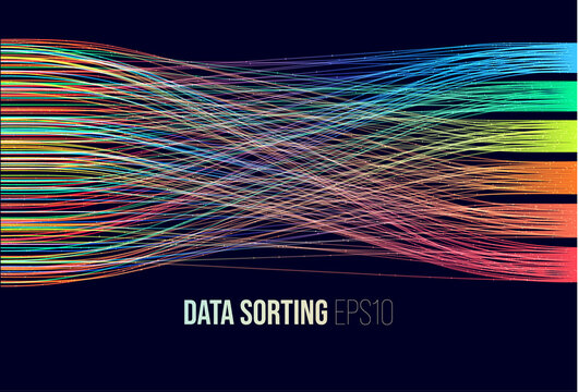 Data sorting. Big data analytics stream. Information classification.