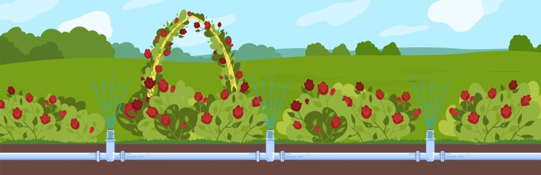 Garden watering vector illustration. Cartoon flat underground automatic irrigating water supply pipe system in cultivated organic farm fields, greenhouse or garden. Irrigation technology background