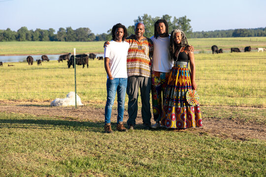 Family farm portrait in African centric clothing