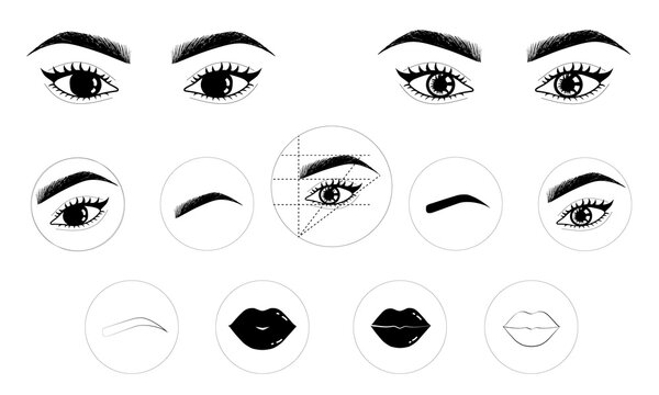 Permanent makeup icons set storys, eyes, lash, lips, brows