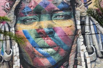 Brazil Rio de Janeiro -  Port and Docks Area with the biggest graffiti Ethnic Wall - Mural das Etnias