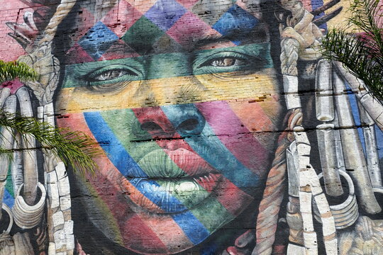 Brazil Rio de Janeiro -  Port and Docks Area with the biggest graffiti Ethnic Wall - Mural das Etnias