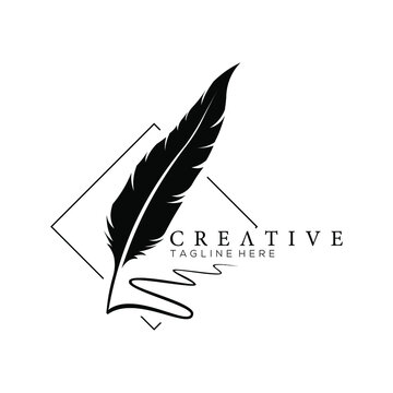 feather pen logo silhouette with square line vector design template
