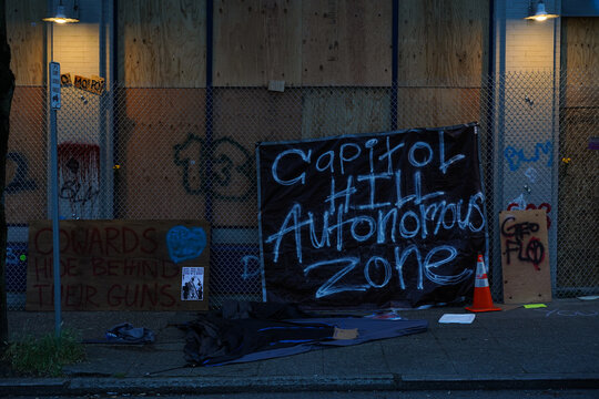 A makeshift sign for the Capitol Hill Autonomous Zone (CHAZ) that formed in Seattle, WA during June 2020. The CHAZ was later renamed as CHOP (Capitol Hill Occupied Protest) before it was cleared out.