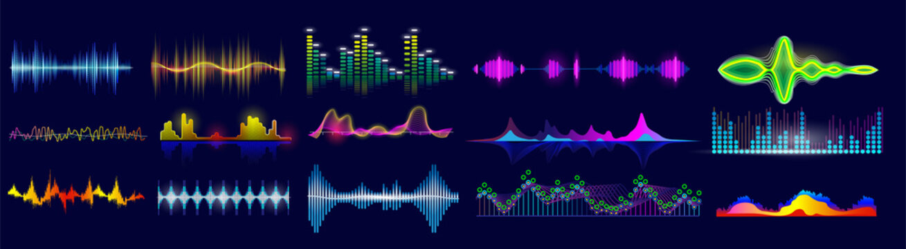 Sound wave set. Isolated flat audio sound waves. Abstract pulse frequency waveform design collection. Vector music equalizer digital technology illustration