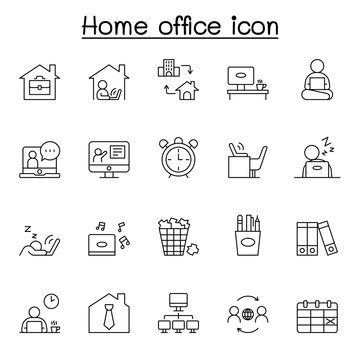Freelance and Work at Home Icons Set. Collection of linear simple web icons such as Work from Home, Distant Work, Freelance, Online Video Conferencing, Work Online and more.
