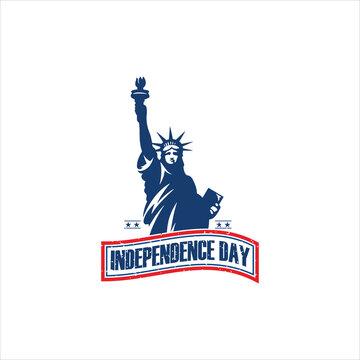Statue of Liberty emblem America logo silhouette icon vector