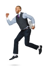 happy young african businessman jumping high isolated on white background