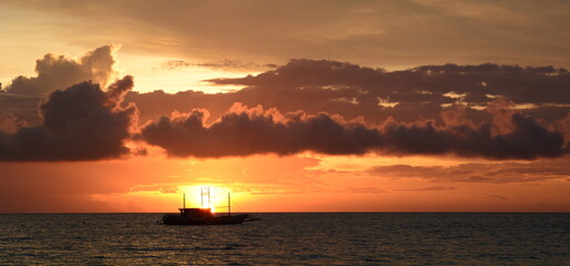 Scenic clouds at sunset. Boracay. Western Visayas. Philippines