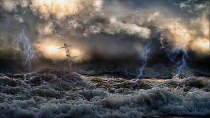 Silhouette of sailing old ship in stormy sea with lightning bolts and amazing waves and dramatic sky. Collage in the style of marine painterы like Aivazovsky.