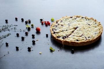 Homemade shortbread berry pie. Summer photo receipts
