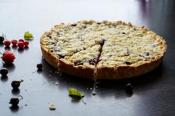 Homemade berry pie. Summer photo receipts