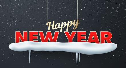 Happy New year festive luxury lettering, inscription hanging on night sky background.