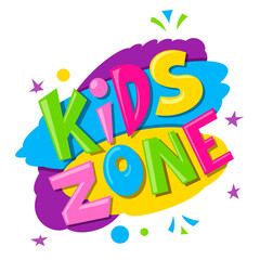 Kids zone bright banner, label with multicolor spots, stars, circles. Children play room signboard.