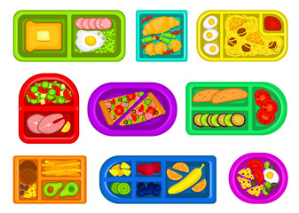 School lunch boxes of various shapes and colors flat set. Plastic food storage containers, packaging.
